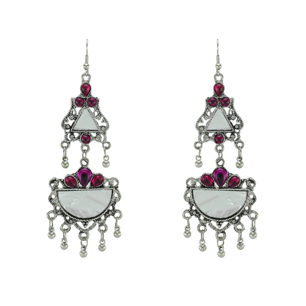 OyeTrend Gorgeous Silver Plated Mirror Earrings With Pink Stone