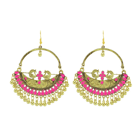 OyeTrend Gold Tone Peacock Earrings With Pink Meena Work