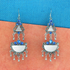 OyeTrend Gorgeous Silver Plated Mirror Earrings With Blue Stone