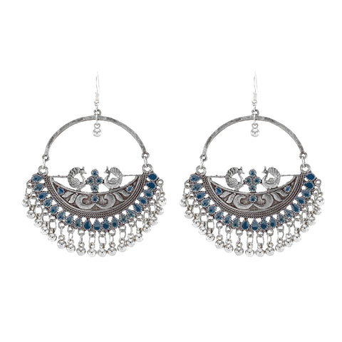 OyeTrend Designer Peacock Round Earring With Blue Meena Work