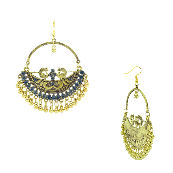 OyeTrend Gold Tone Peacock Earrings With Blue Meena Work