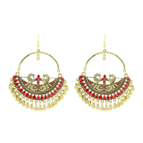 OyeTrend Gold Tone Peacock Earrings With Red Meena Work