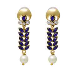 Oyetrend Beautiful Royal Blue Leaf Pattern Danglers For Women