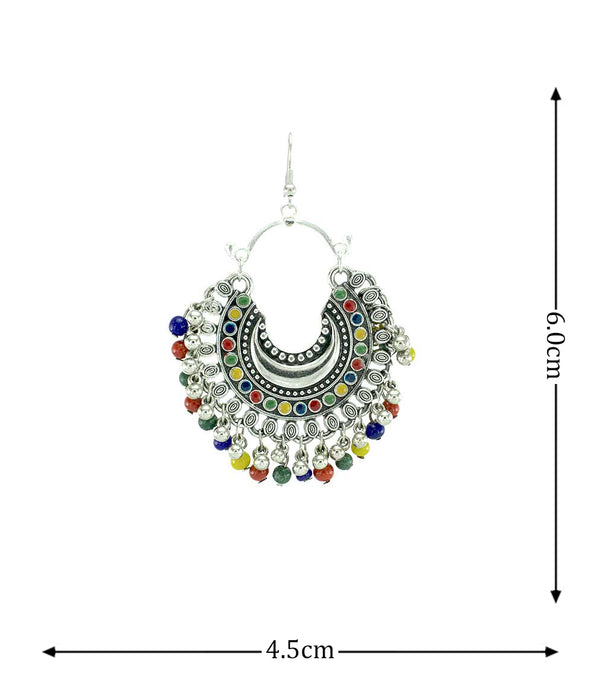 OyeTrend Oxidised Earring With Dangling Multi Color Pearls