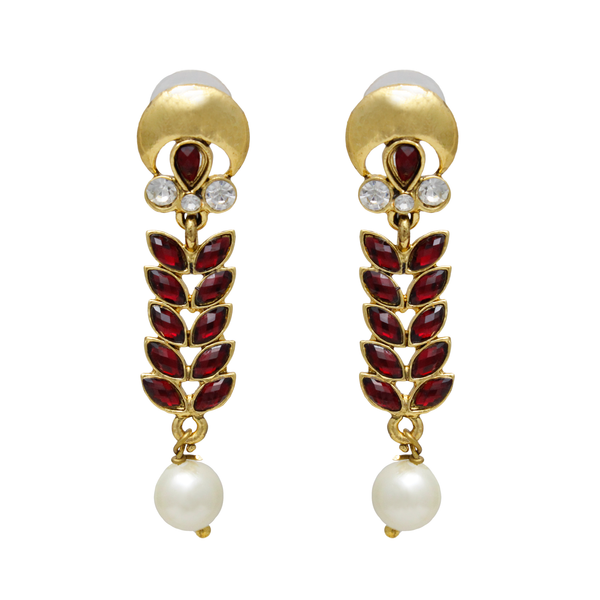 OyeTrend Beautiful Maroon Leaf Pattern Danglers For Women
