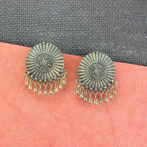 Oyetrend Designer Gold Tone Oxidised Studs For Women