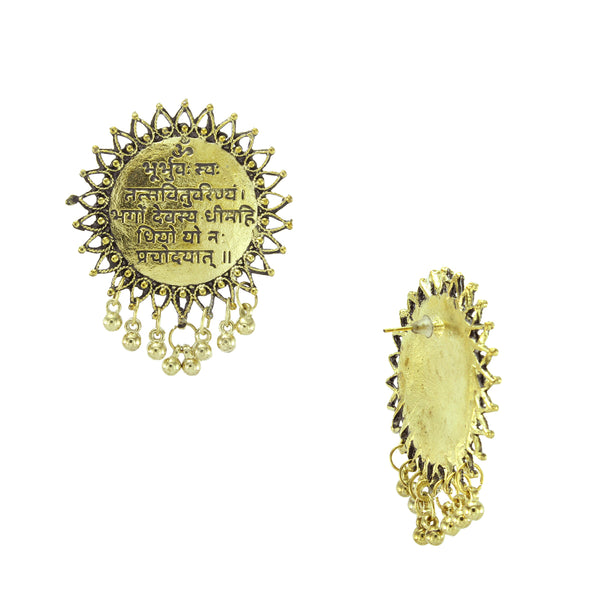 Oyetrend Antique Golden Mantra Engraved Tops Earring For Women