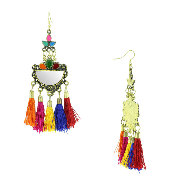 Oyetrend Gold Tone Dangler Earring With Multi Color Tassel