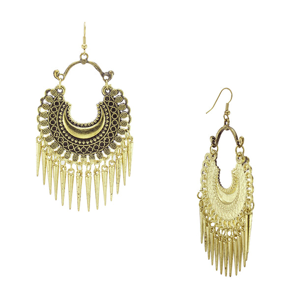OyeTrend Golden Fashion Earrings With Dangling Spikes