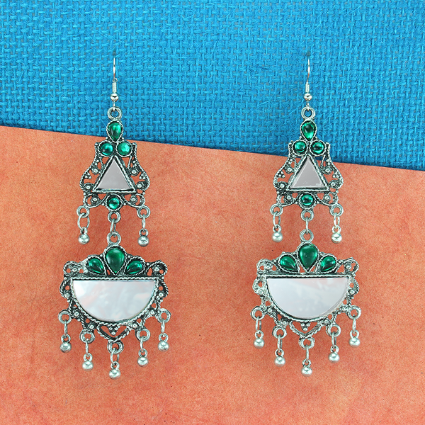 OyeTrend Gorgeous Silver Plated Mirror Earrings With Green Stone