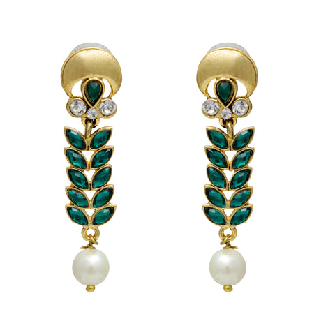 OyeTrend Beautiful Green Leaf Pattern Danglers For Women