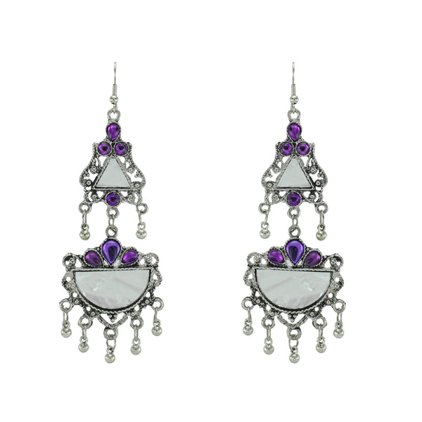 OyeTrend Gorgeous Silver Plated Mirror Earrings With Purple Stone