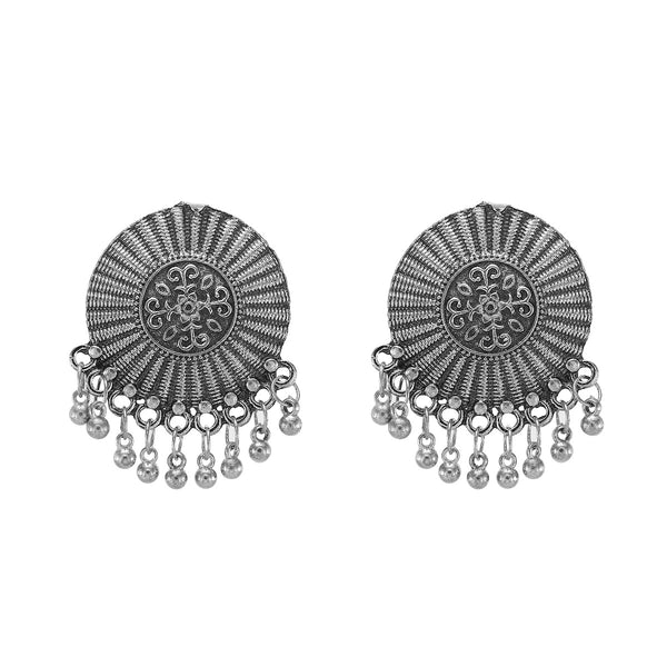 OyeTrend Designer Silver Tone Oxidised Studs For Women