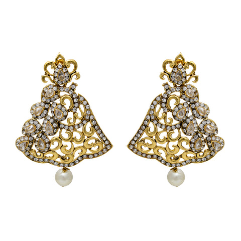 Oyetrend Gold Plated Designer Earring Studded With Silver Stones