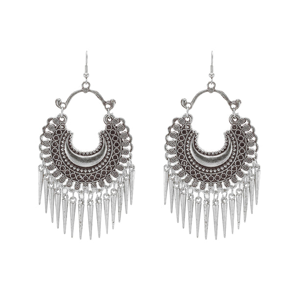 OyeTrend Silver Fashion Earrings With Dangling Spikes