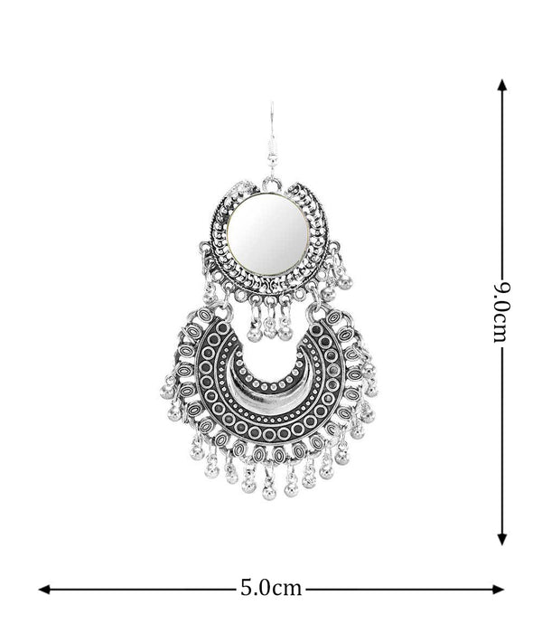 OyeTrend Oxidised Silver Mirror Earring For Women