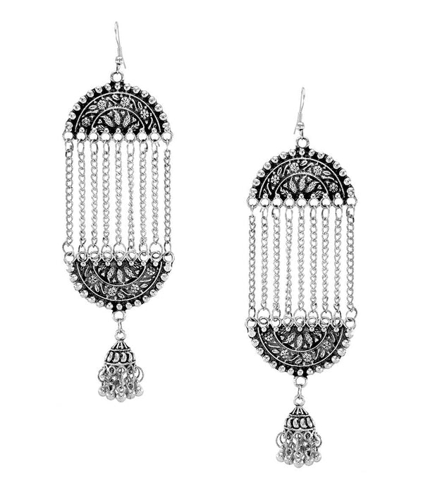OyeTrend Designer Long Chain Oxidised Earrings With Jhumki