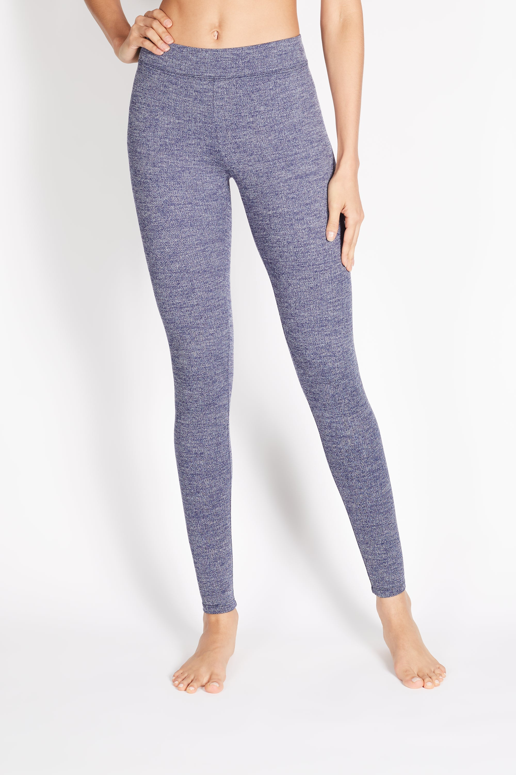 "PITA HIGH RISE BASIC LEGGING ""BLUE HERRINGBONE"""