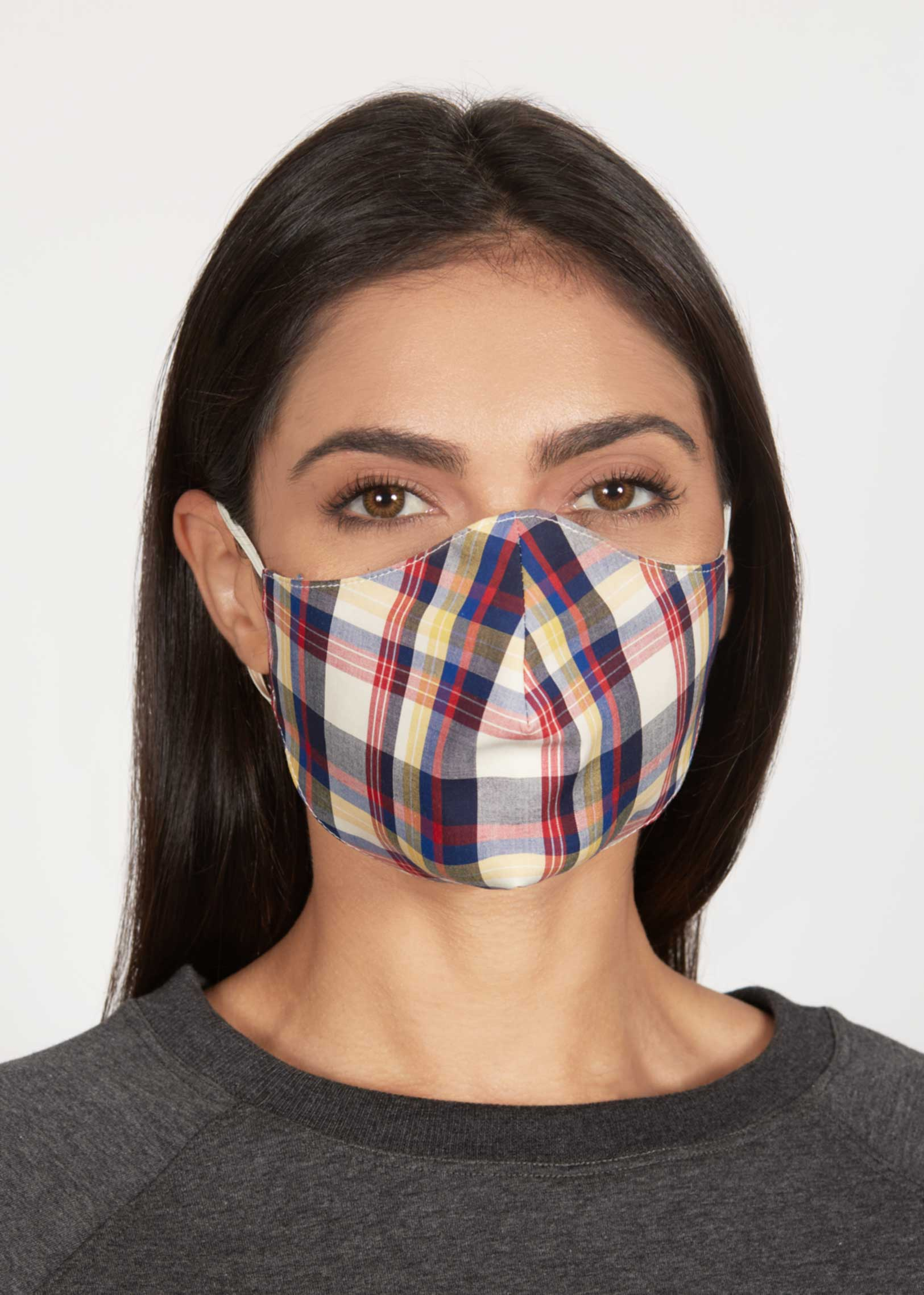 Red-Plaid Woven Mask