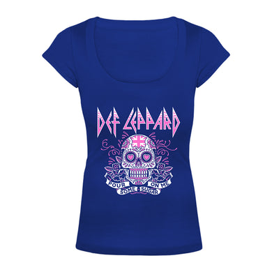 Sugar Skull Ladies Scoop Neck Tee-Def Leppard
