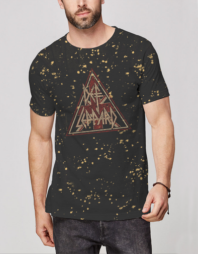 Def Leppard Vintage Black with Bleach Splatter