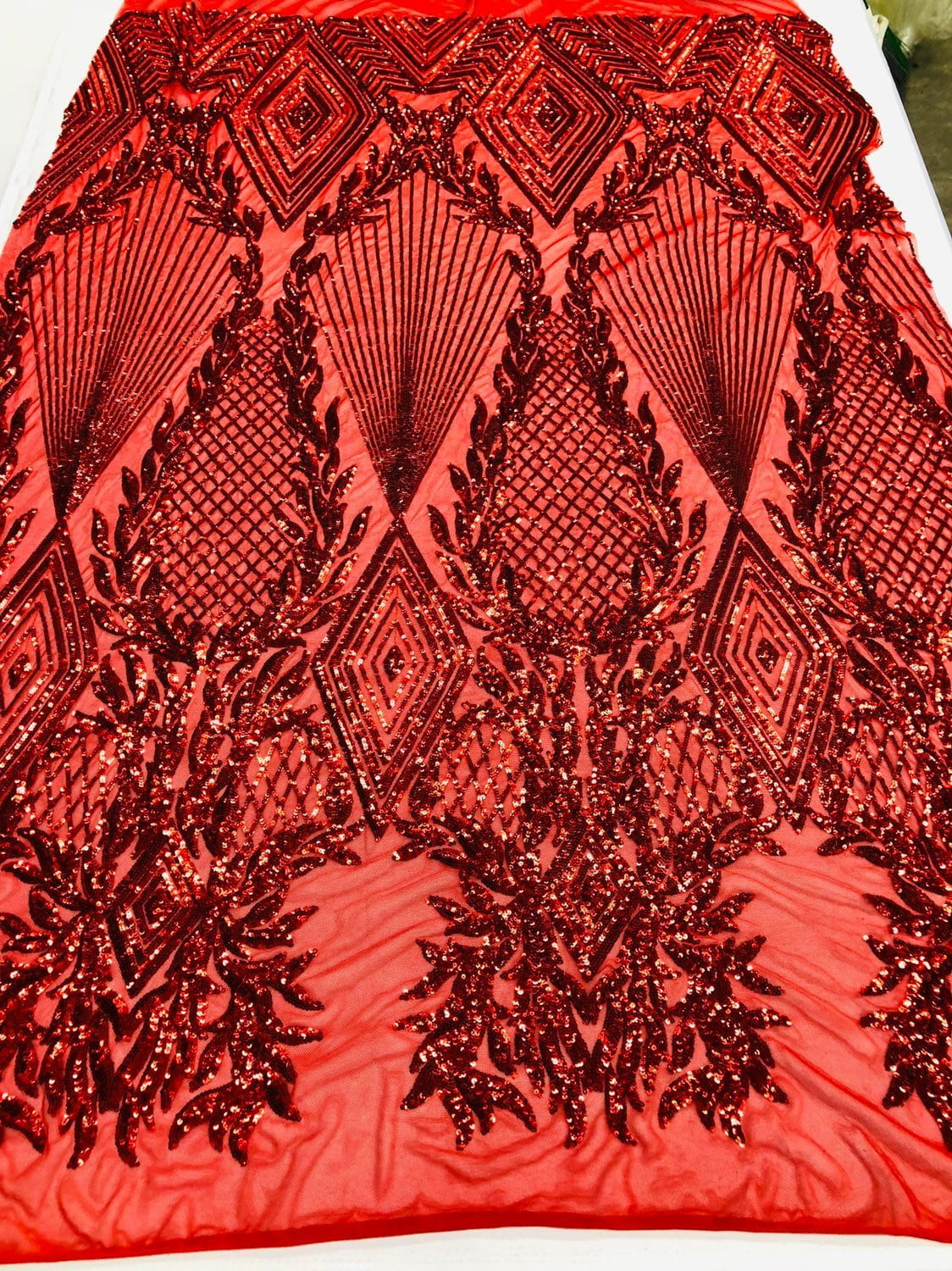 Red Sequins Fabric 4 Way Stretch Embroidered A Mesh Lace Fabric By The Yard