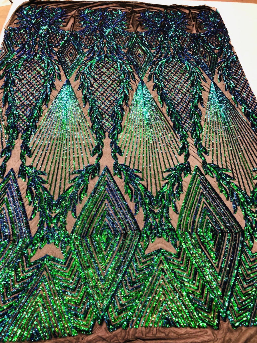 4 Way Stretch Sequins Fabric Iridescent Green By The