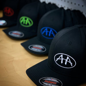 ACROPHOBIA CURVED BILL HAT WITH AA OVAL LOGO ON BLACK HAT