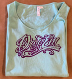 PLUS SIZE CURVY TANK TOPS LIMITED EDITION TEAL WITH FRONT PURPLE SCRIPT