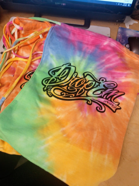 *LIMITED* TYE-DYE TATTOO SCRIPT DRAW STRING COTTON BAGS