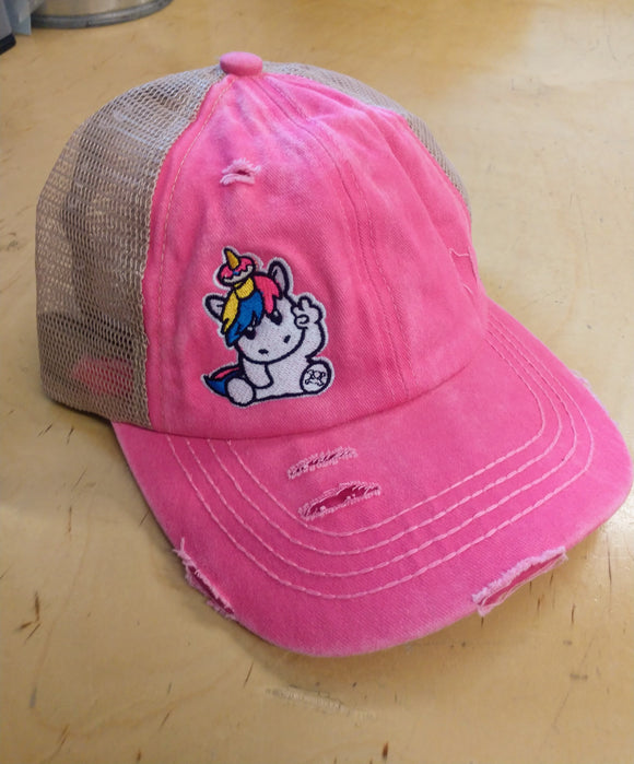 PONY TAIL DISTRESSED SPRINKLES THE UNICORN HAT - PINK/KHAKI