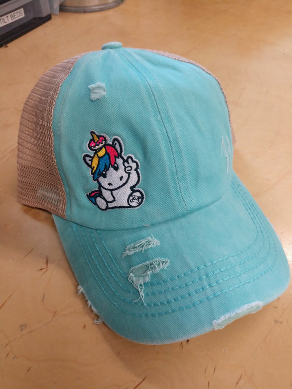 PONY TAIL DISTRESSED SPRINKLES THE UNICORN HAT - TEAL/KHAKI