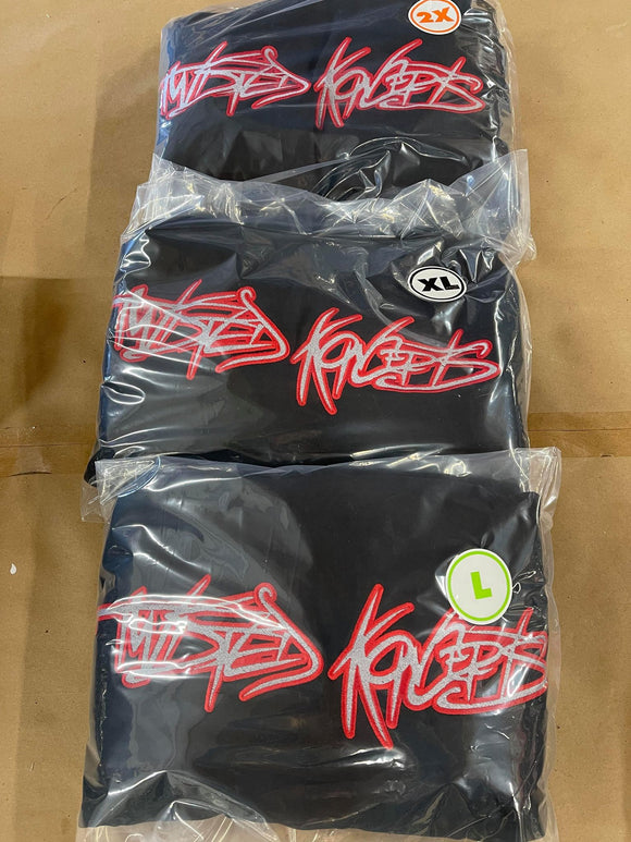 TWISTED KONCEPTS EMBROIDERED LOGO HOODIE SILVER FILL WITH RED OUTLINE