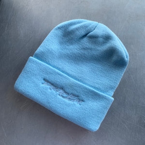 LIGHT BLUE BRIMMED BEANIE