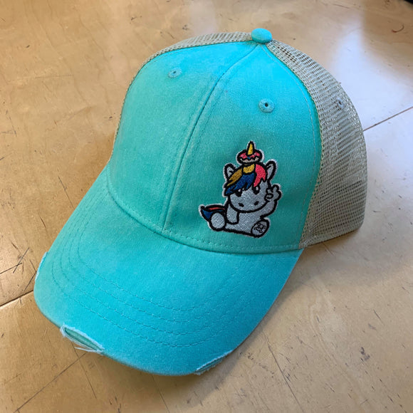 TEAL SPRINKLES THE UNICORN DISTRESSED SNAPBACK HAT