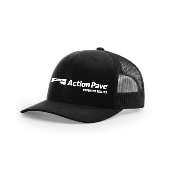 ACTION PAVE BLACK/BLACK TRUCKER SNAP BACK (CURVED BILL)