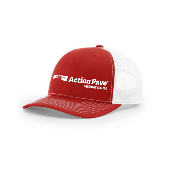 ACTION PAVE RED/WHITE TRUCKER SNAP BACK (CURVED BILL)