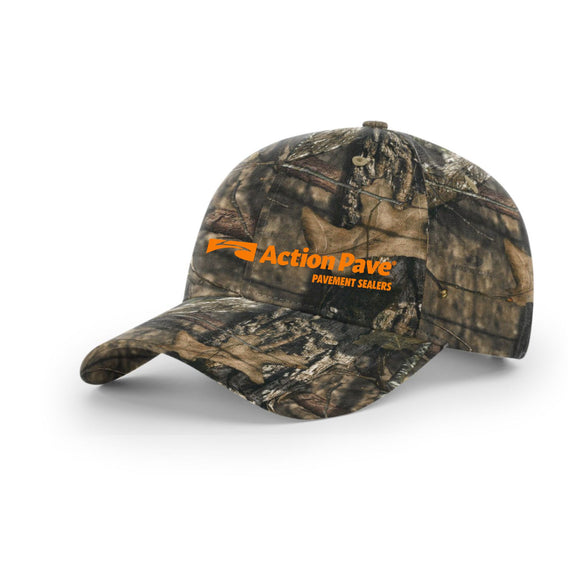 ACTION PAVE MOSSY OAK CAMO SNAP BACK ORANGE STITCH (CURVED BILL)