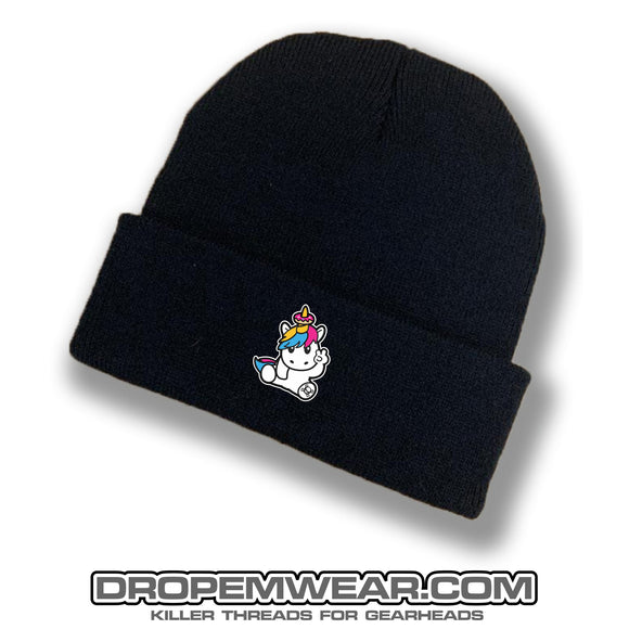 BLACK BRIMMED BEANIE WITH EMBORIDERED SPRINKLES