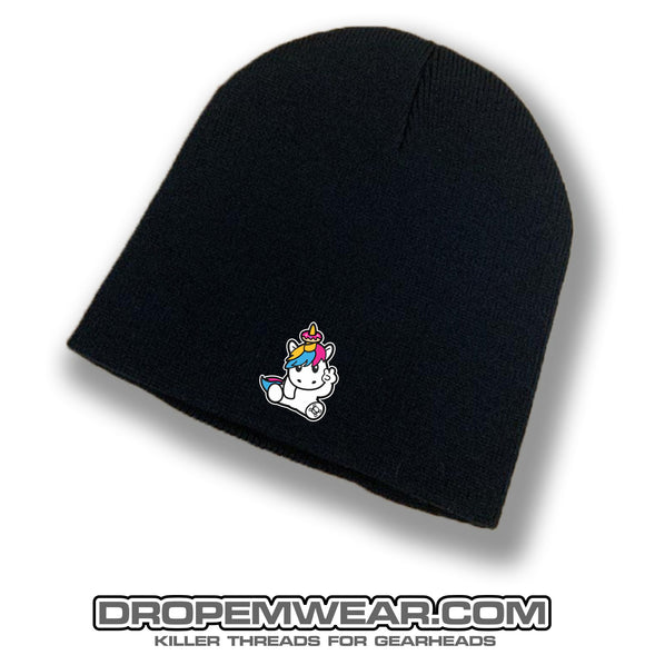BLACK NO BRIM BEANIE WITH EMBROIDERED SPRINKLES