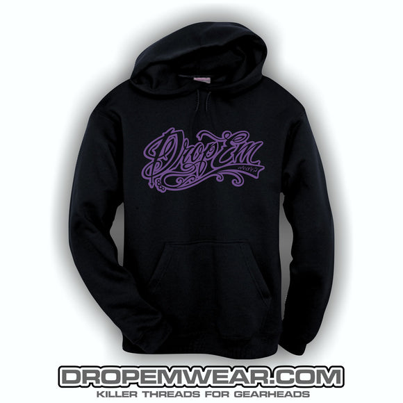 EMBROIDERED HOODIE WITH PURPLE EMBROIDERED TATTOO SCRIPT