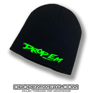 BLACK NO BRIM BEANIE WITH LIME ORIGINAL LOGO