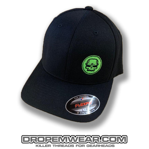 BLACK CURVED BILL FLEX FIT HAT WITH LIME SKULL LOGO