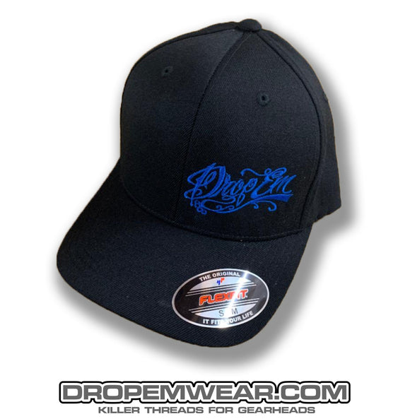 BLACK CURVED BILL FLEX FIT HAT WITH BLUE TATTOO SCRIPT LEFT PANEL