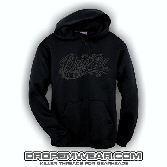 EMBROIDERED HOODIE WITH BLACK ON BLACK EMBROIDERED TATTOO SCRIPT