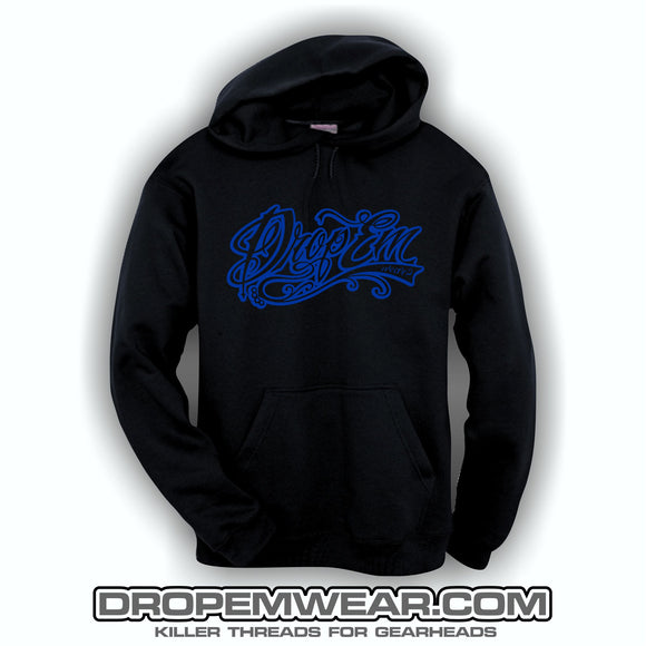 EMBROIDERED HOODIE WITH ROYAL BLUE EMBROIDERED TATTOO SCRIPT