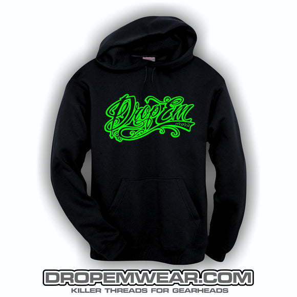 EMBROIDERED HOODIE WITH LIME EMBROIDERED TATTOO SCRIPT