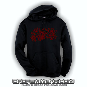 BLACK EMBROIDERED HOODIE WITH BURGUNDY EMBROIDERED TATTOO SCRIPT (CASEY MUNOZ SPECIAL)