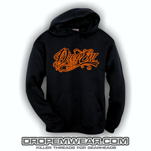 EMBROIDERED HOODIE WITH ORANGE EMBROIDERED TATTOO SCRIPT