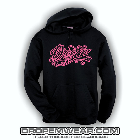 EMBROIDERED HOODIE WITH HOT PINK EMBROIDERED TATTOO SCRIPT